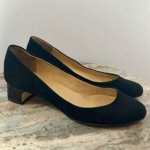 Talbots Suede Pumps Size 10.5 Black Heels Shoes